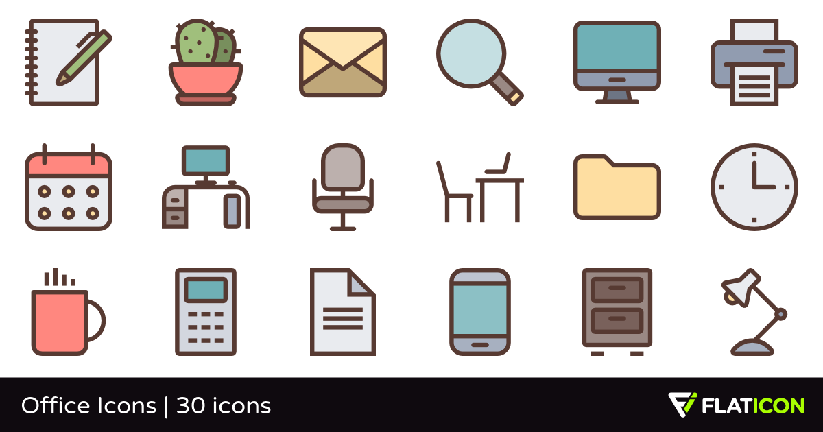 Office Icons 30 free icons (SVG, EPS, PSD, PNG files).