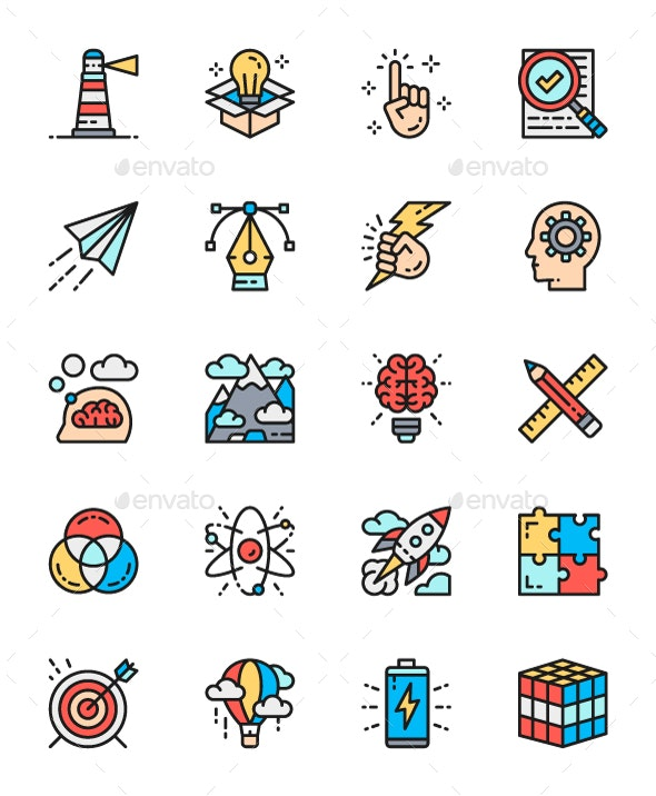 Set Of Creativity And Inspiration Color Line Icons. Pack Of 64x64 Pixel  Icons.