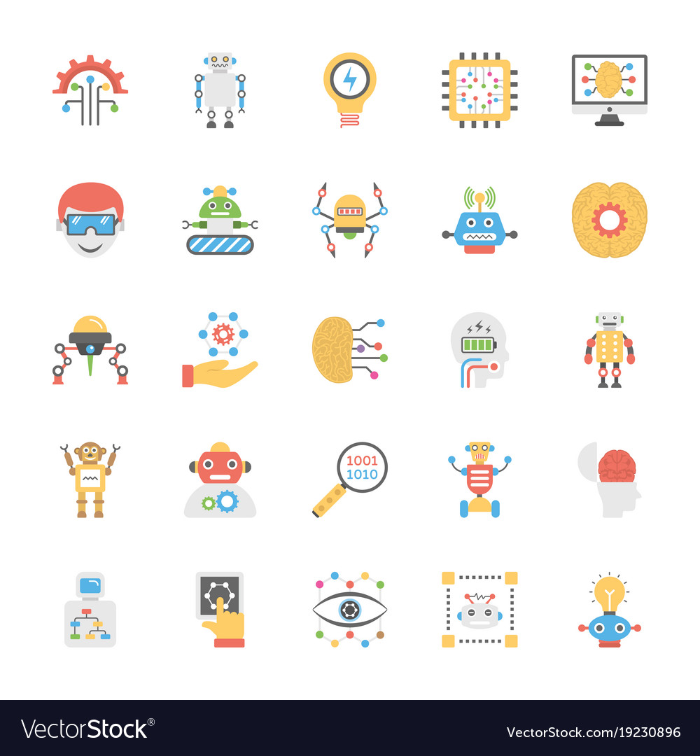 Artificial intelligence flat icon pack.