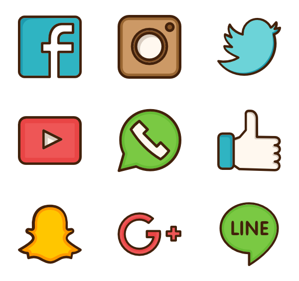 580 icon packs of social media in 2019.