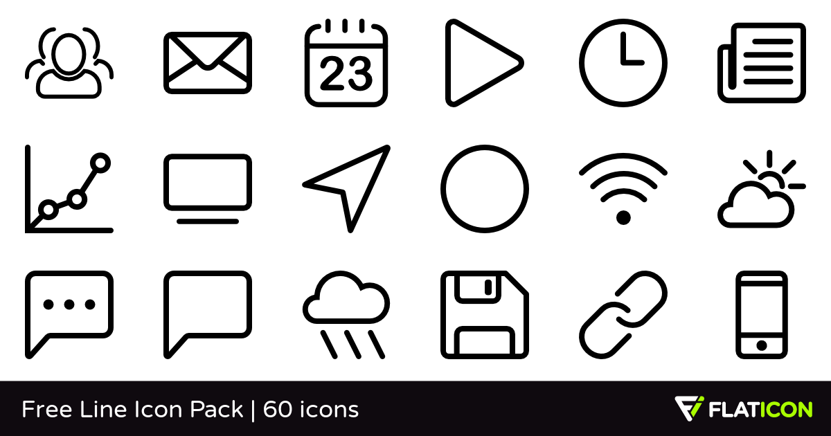 Free Line Icon Pack 60 free icons (SVG, EPS, PSD, PNG files).