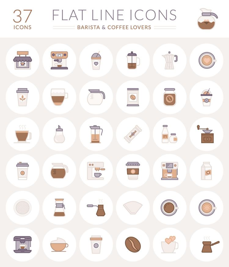 The Free Barista & Coffee Lover Flat Line Icon Set.