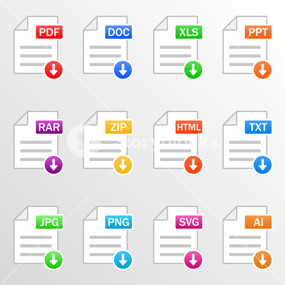 Document files. Icon set. Download file formats.
