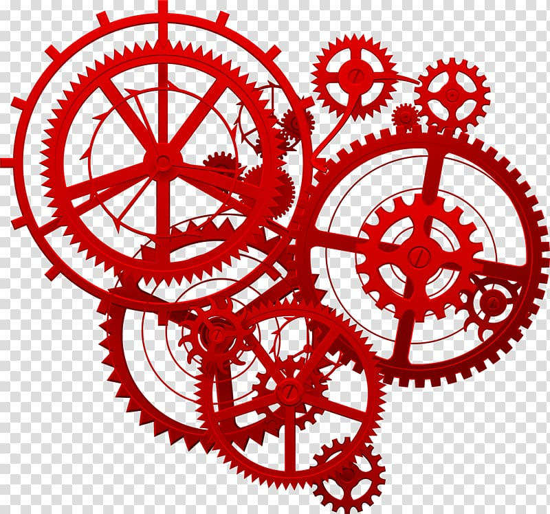 Red gear mechanism illustration, Gear Gold Icon, Red tech.