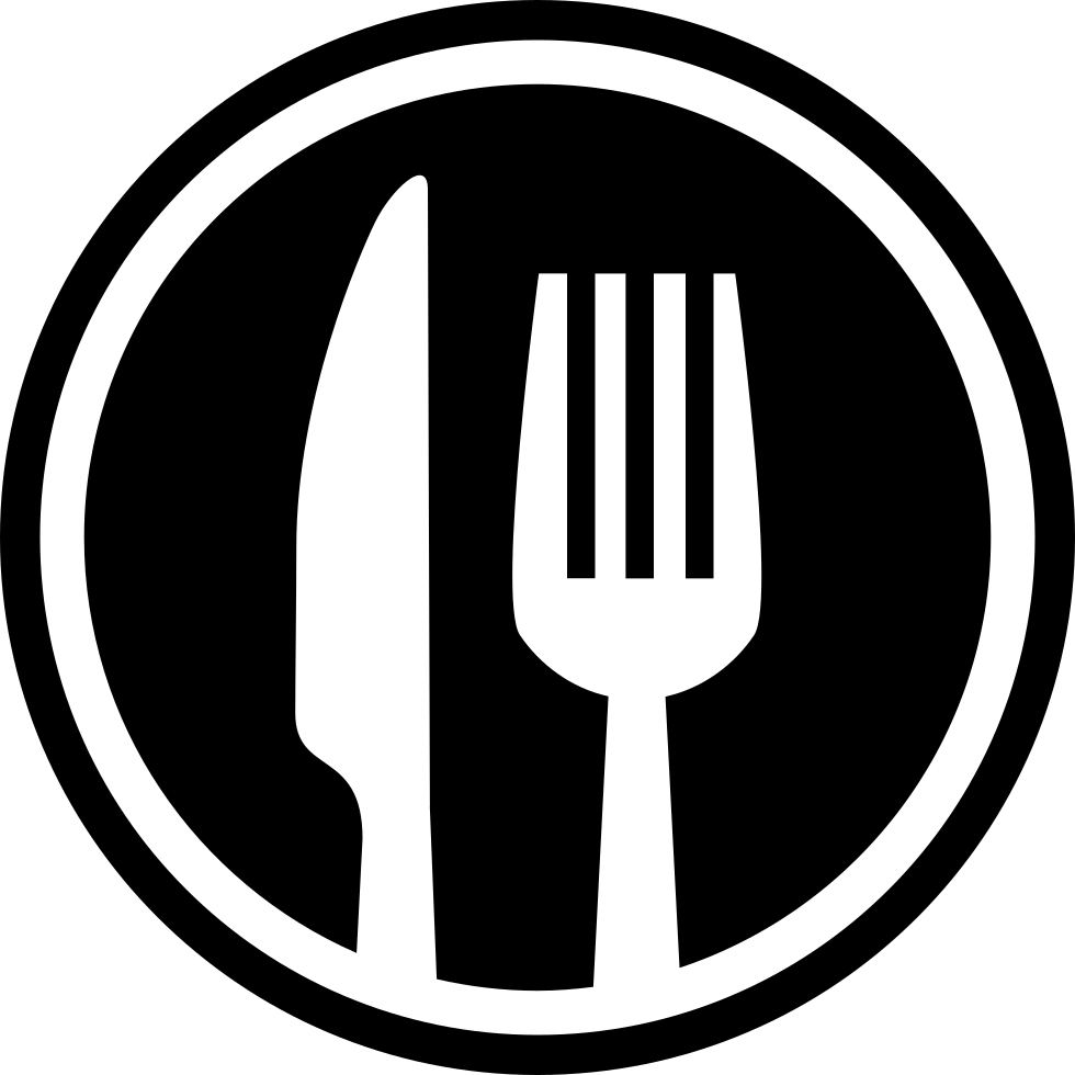 Fork And Knife Cutlery Circle Interface Symbol For Restaurant Svg.