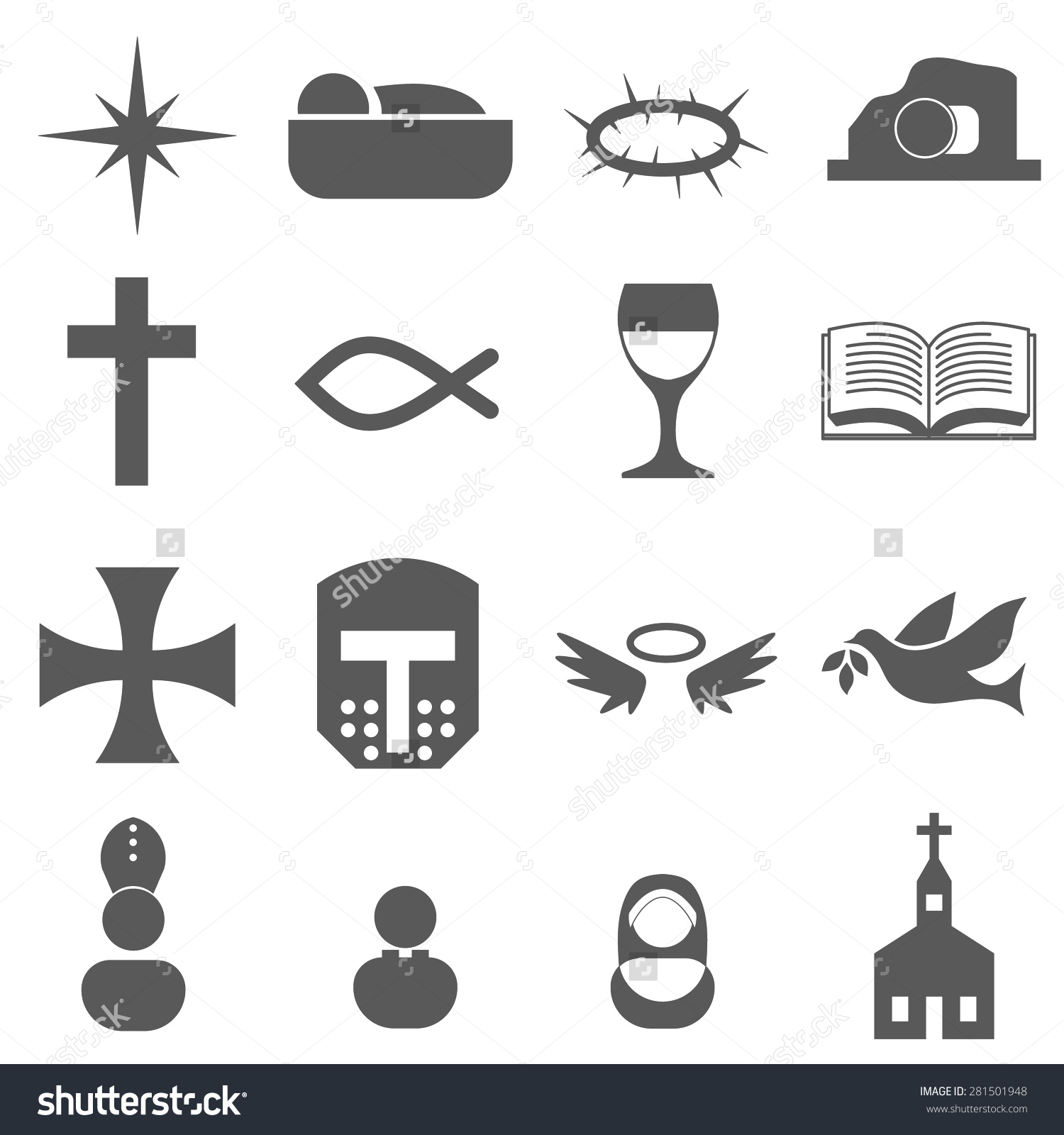 Christian Icon Set Stock Vector Illustration 281501948 : Shutterstock.