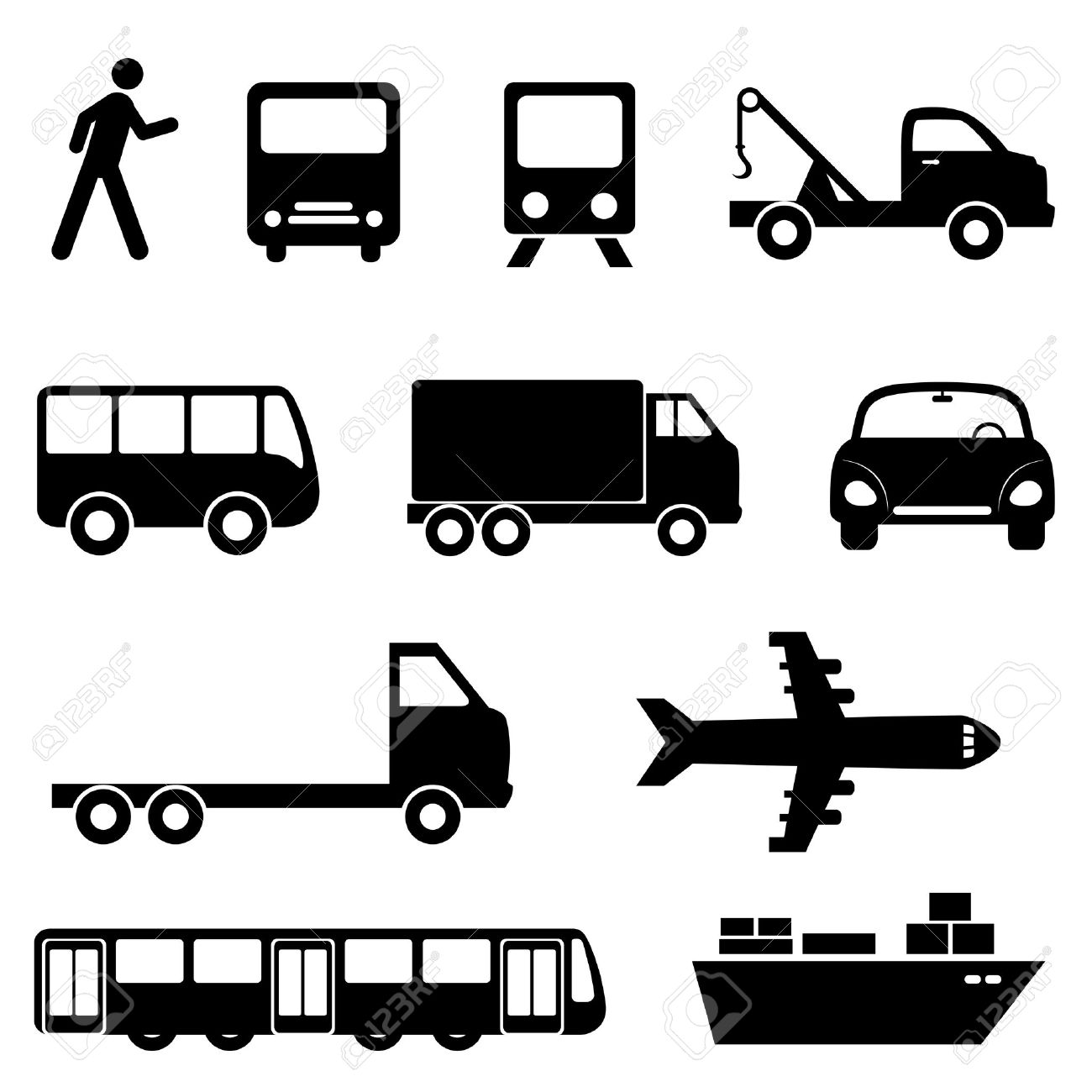 Transportation Icon Set In Black Royalty Free Cliparts, Vectors.