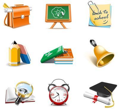 School Theme 3D Icon Set, vector graphics.