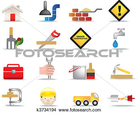 Drawings of construction and diy icon set k3734194.