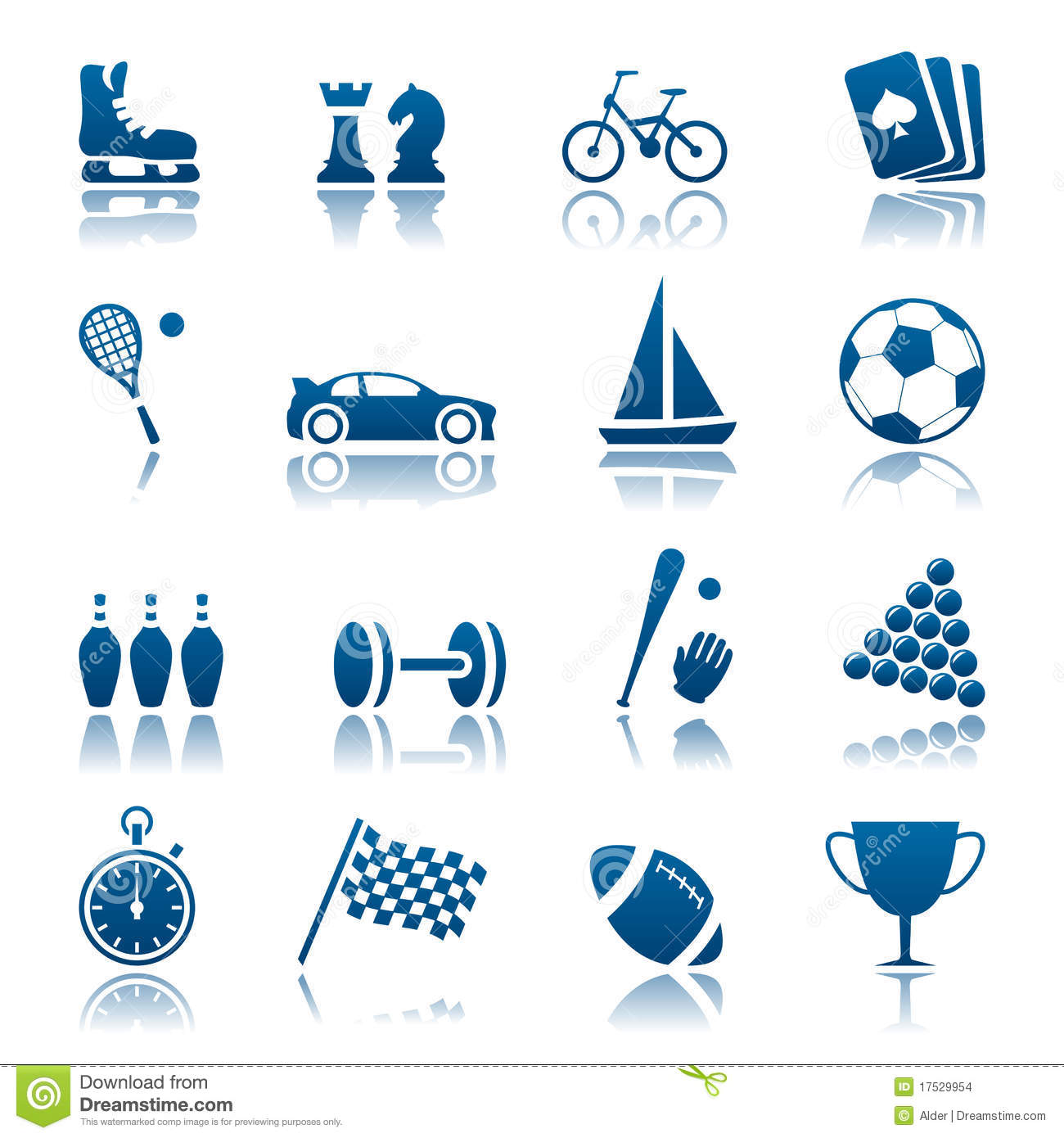 Sport & Hobby Icon Set Stock Images.