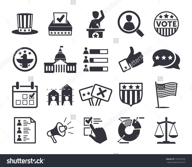 Politics Voting Elections Icons Vector Icon Stock Vector 155765795.