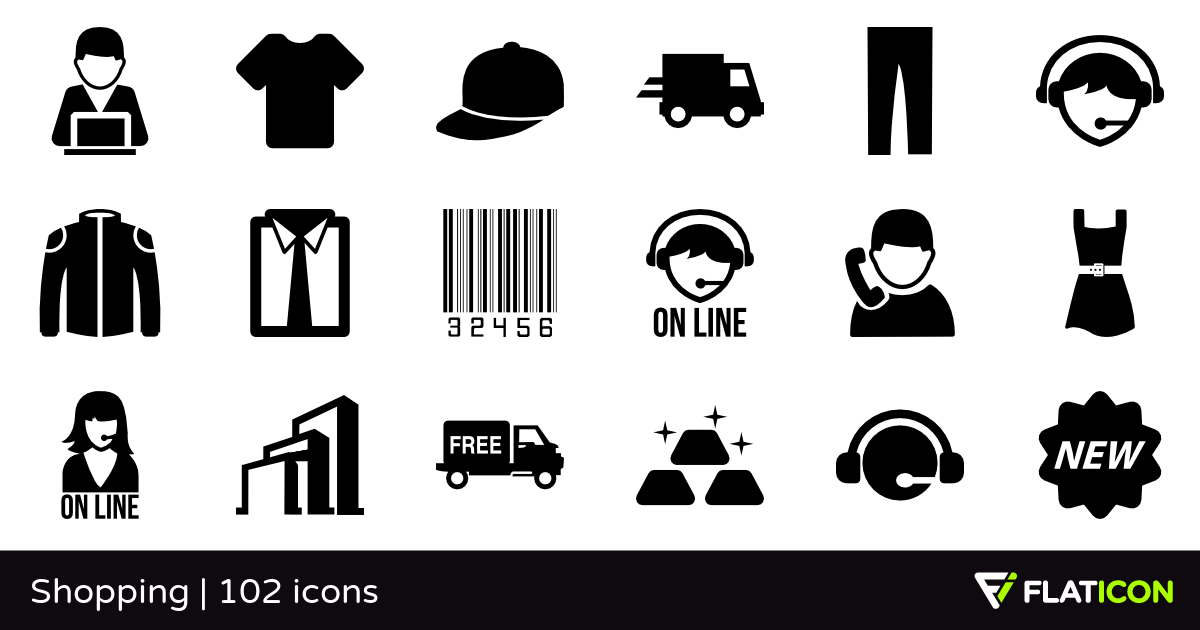 Shopping +100 free icons (SVG, EPS, PSD, PNG files).