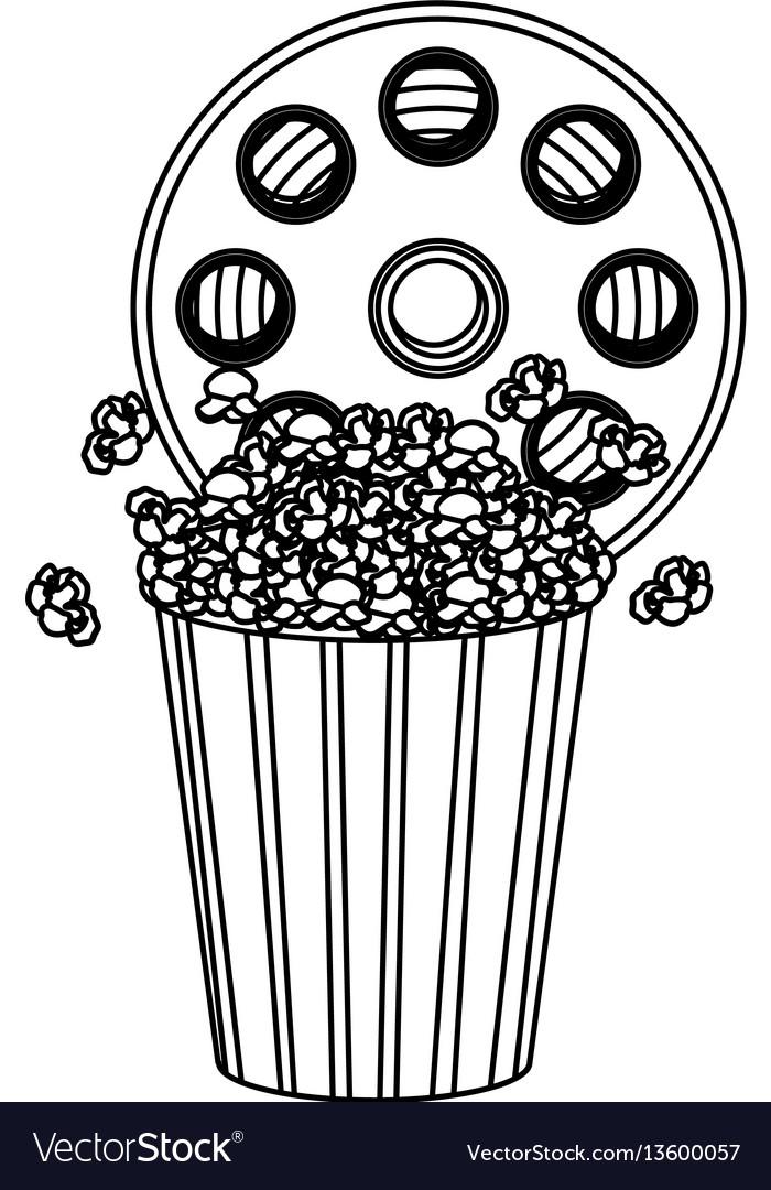 Movie film clipart with pop corn icon.