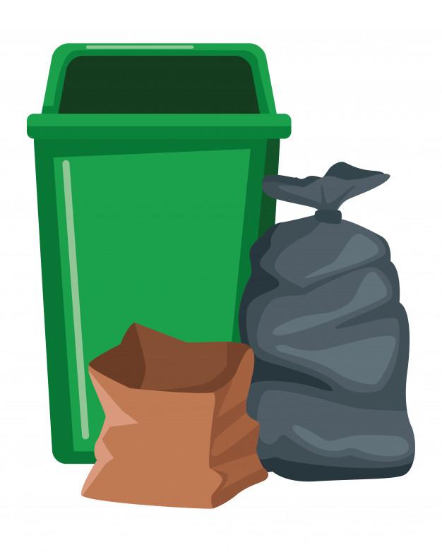 Icône poubelle et sac.
