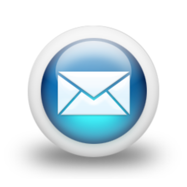 D Glossy Blue Orb Icon Business Envelope.
