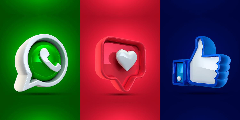 Ícones em 3D do Whatsapp, Facebook e Instagram gratuitos para.