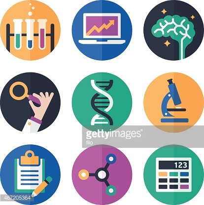 Science Symbols and Icons Clipart Image.