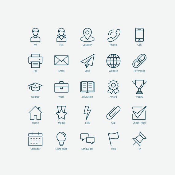 Resume Icons in Vector and PNG.