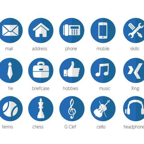 20 modern Icons for personal CV / Resume.