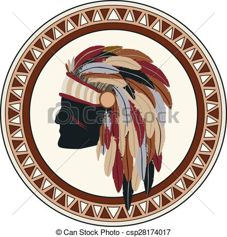 Vector Clip Art of American indian war chief stamp stamp.