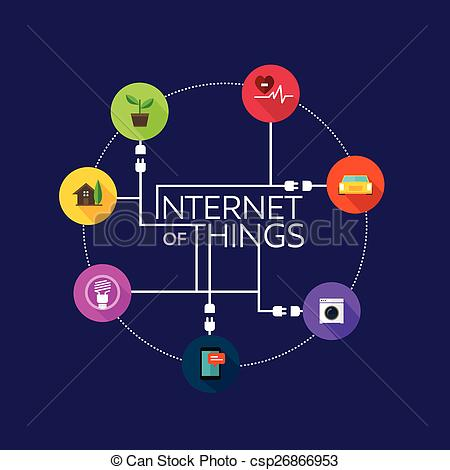Clipart Vector of Internet of Things flat iconic illustration.