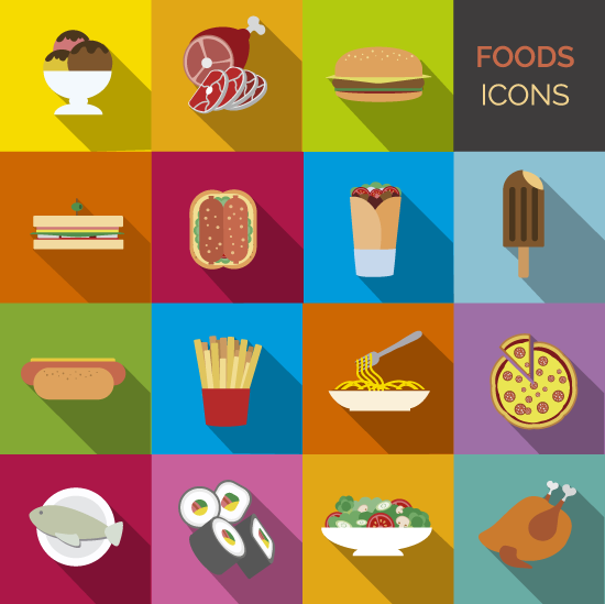Vector Clipart: Set de iconos de comidas.