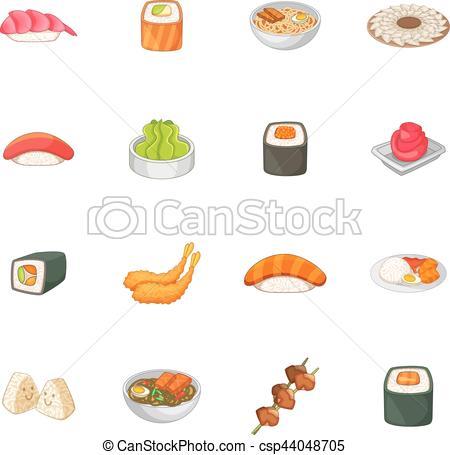Estilo, iconos, japonés de comida, conjunto, caricatura.