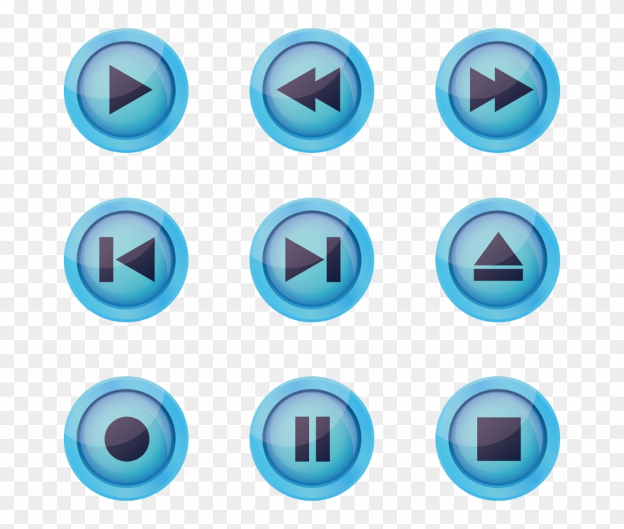 Blue Play Associated Button Euclidean Vector Icon.