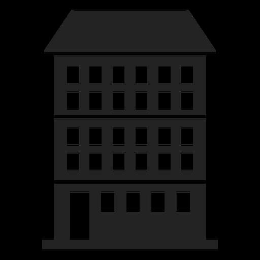 Condominio edificio icono negro.