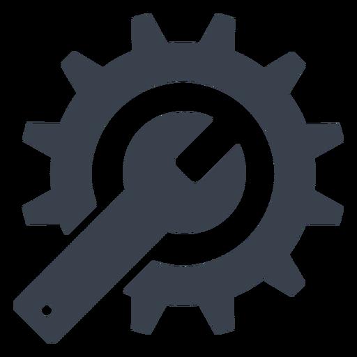 Icono de llave y engranaje.