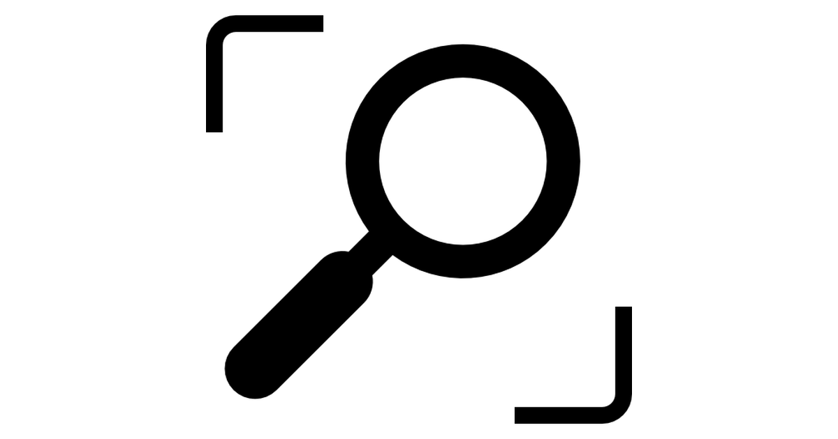 Search shot interface symbol with a magnifier tool.
