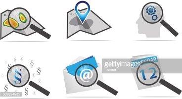 Lupa Iconos Para Aplicaciones Web & Internet vectores en.
