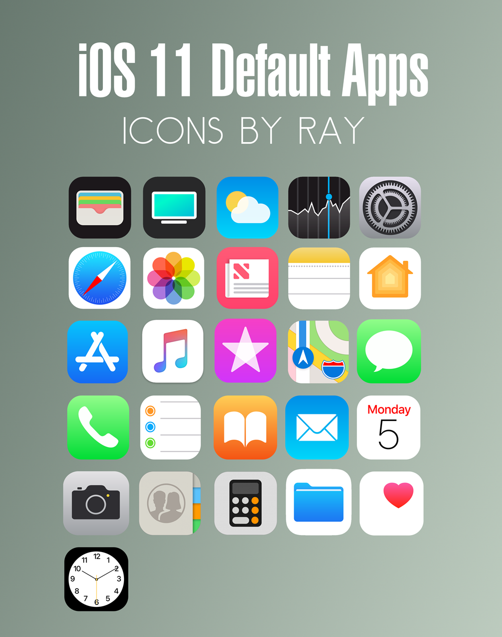 iOS 11 Default App Icons by Ray by Raiiy on DeviantArt.
