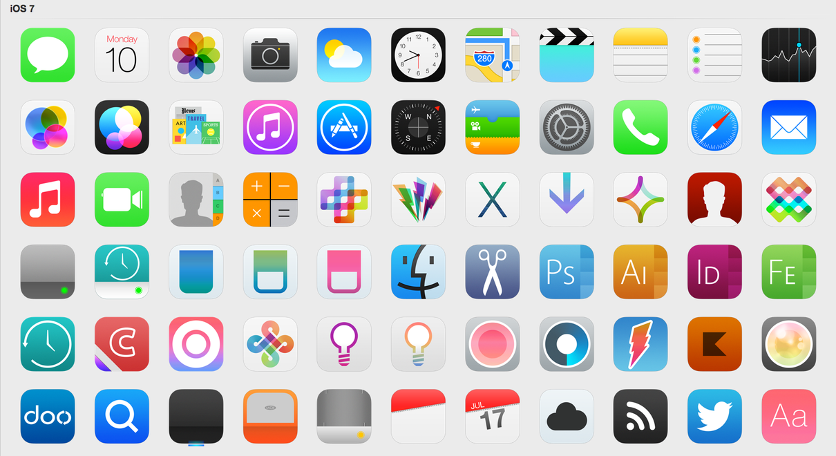 iOS 7 Icons (Updated) by iynque on DeviantArt.