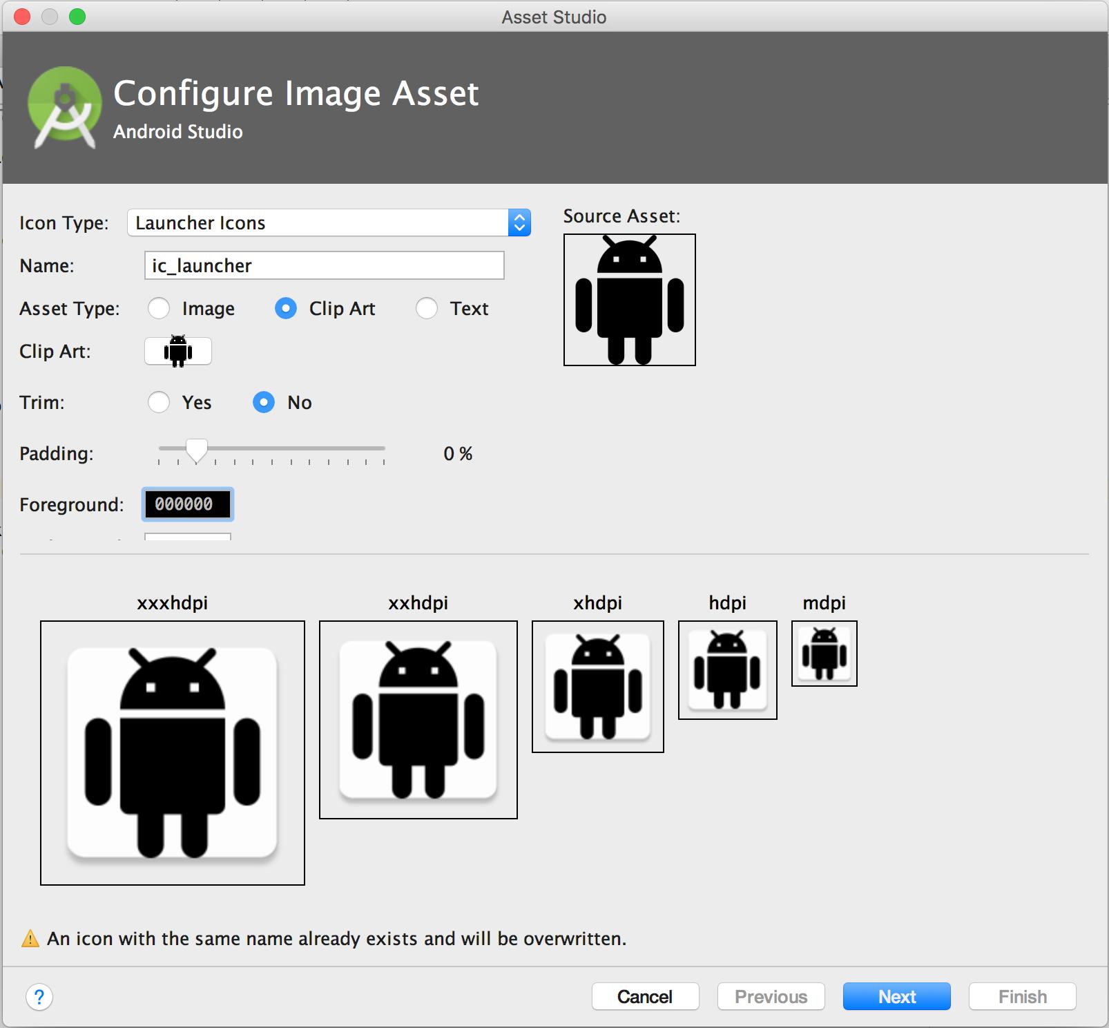Crear íconos de apps con Image Asset Studio.