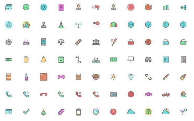 Color Line Icon Set: pack gratuito compuesto por 512 iconos PNG.