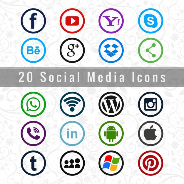 Free Useful social media icons SVG DXF EPS PNG.