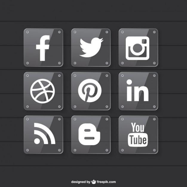 Iconos de redes sociales con fondo transparente.