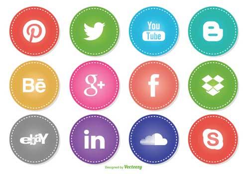 Paquetes gratuitos de iconos de redes sociales para tus diseños.