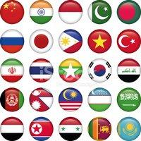Asiático Banderas Iconos Redondos vectores en stock.