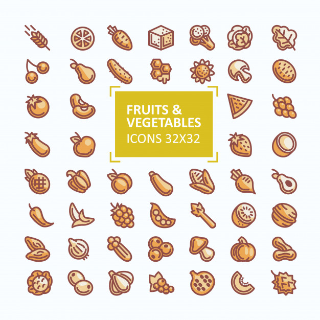 Set of vector icons of fruits and vegetables in the style of.