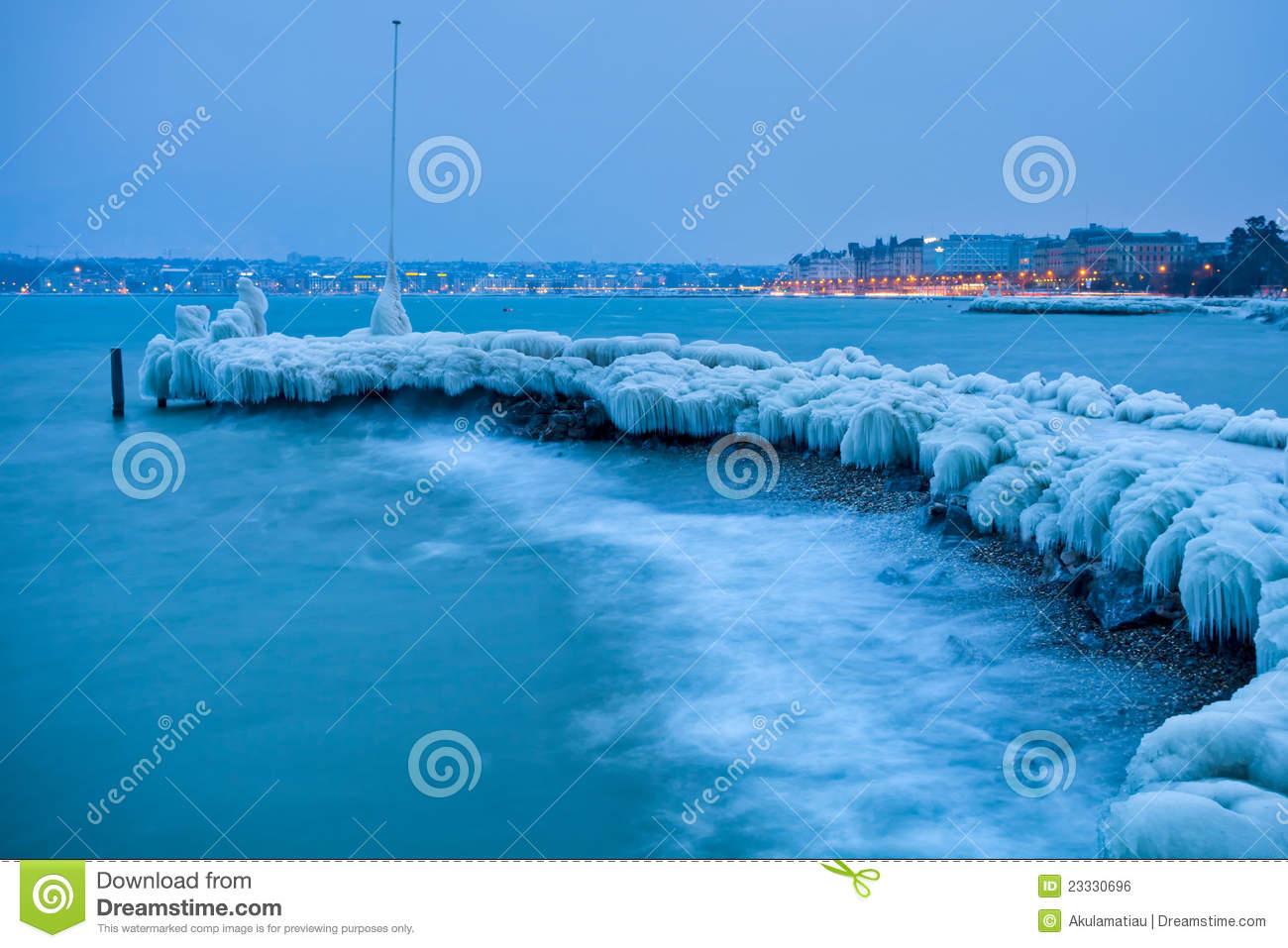 Lake Geneva Frozen Icy Jetty Editorial Photo.