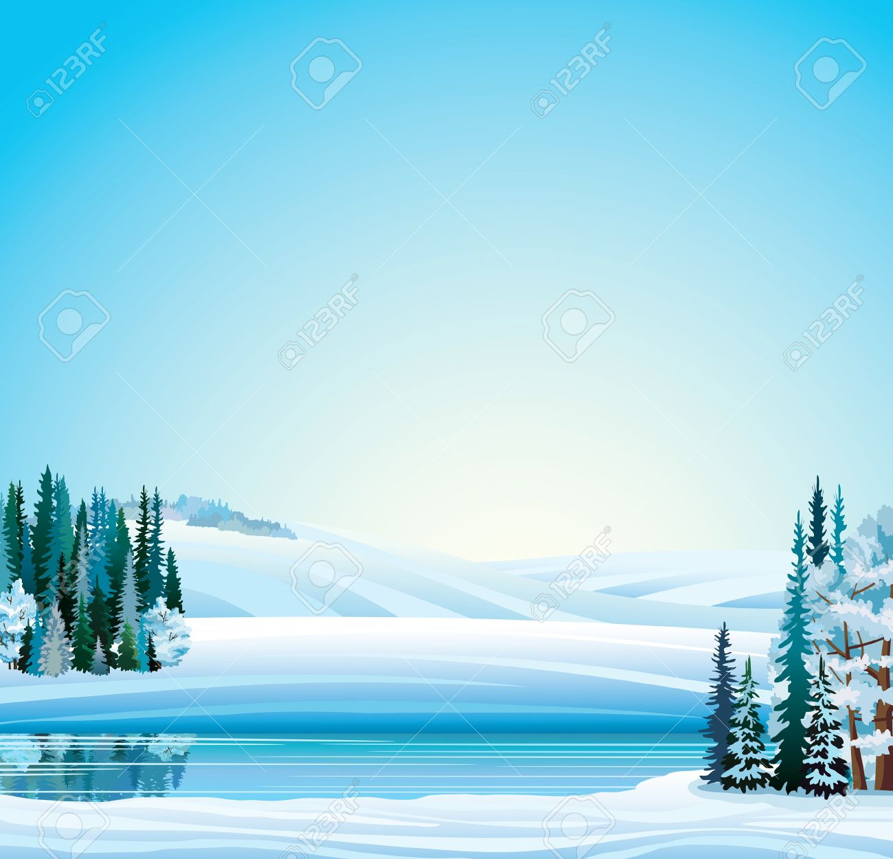 Vector Winter Landscape. Frozen River, Forest And Hills On A.
