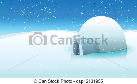 Clipart Vector of Igloo And Polar Icy Background.