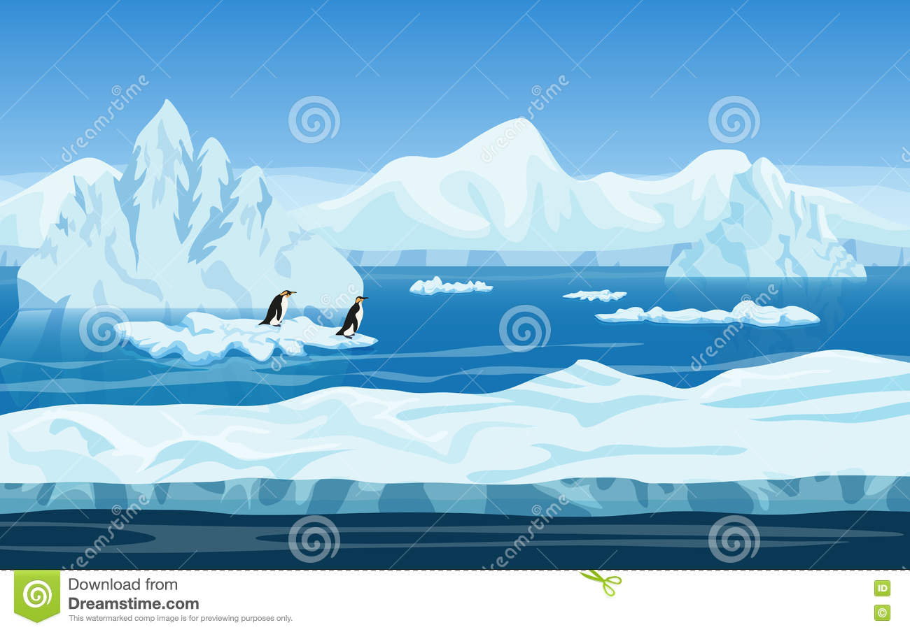 Cartoon Penguins On Icy Landscape. Vector Stock Vector.
