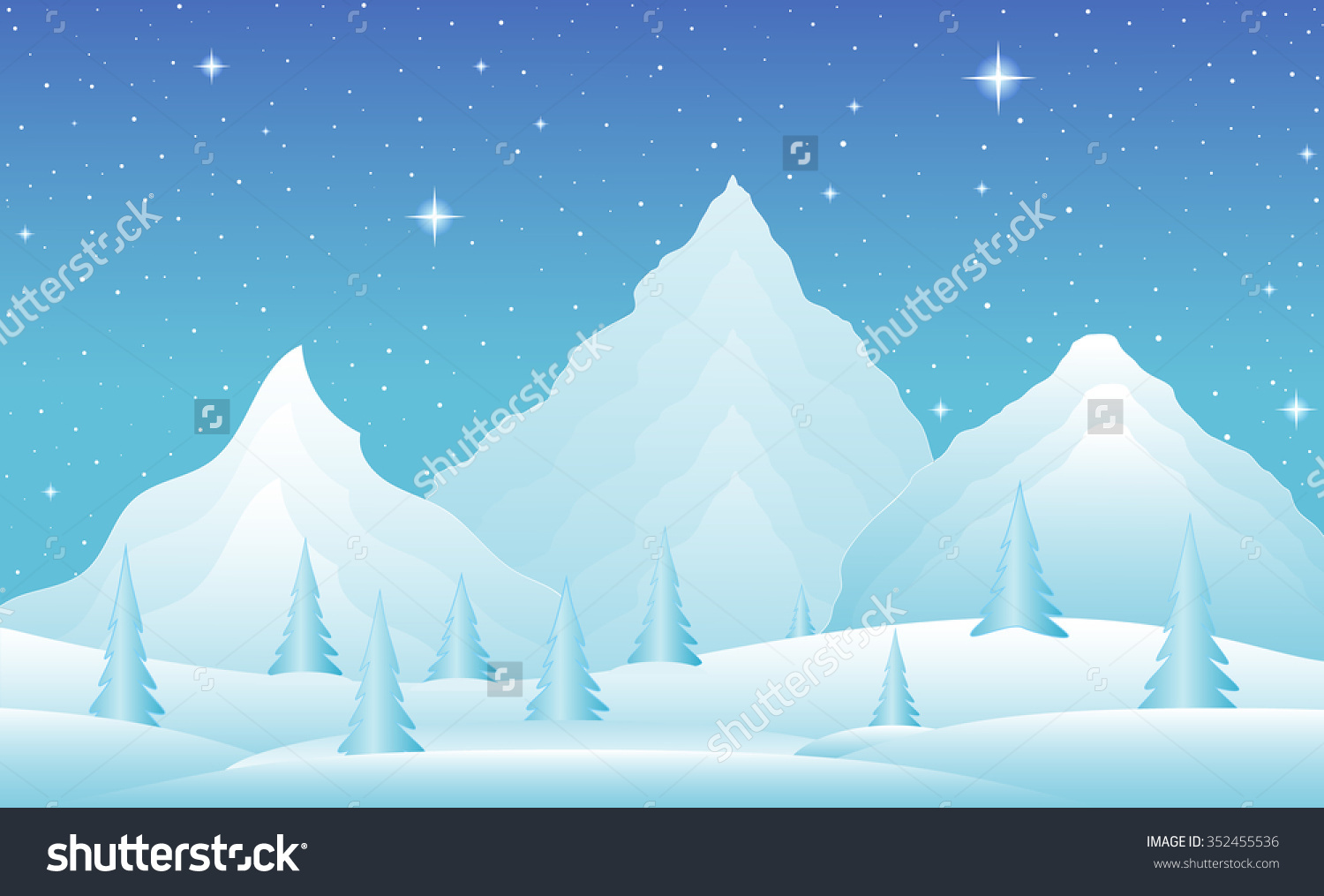 Vector Winter Landscape Icy Mountains Snowy Stock Vector 352455536.