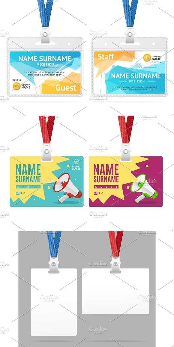 Id Card Template Plastic Badge.