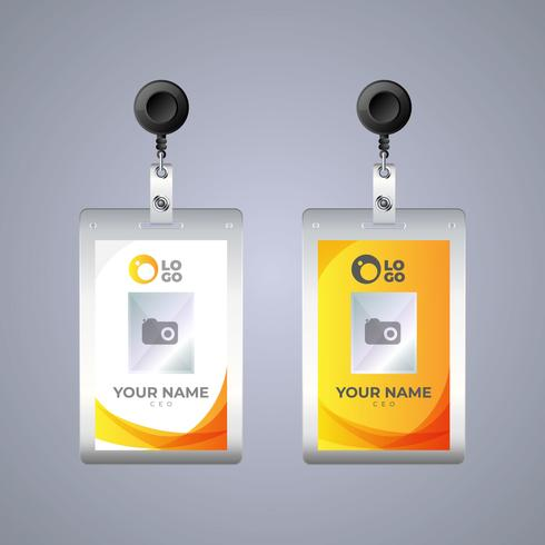 Flat id card template with clasp and lanyard.