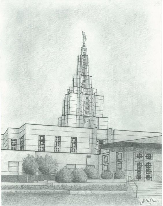 Idaho Falls Temple Drawing by josetteclarkdesigns on Etsy, $28.00.