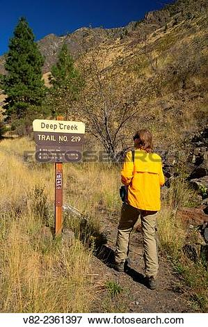 "Picture of ""Deep Creek Trail sign, Hells Canyon Seven Devils."